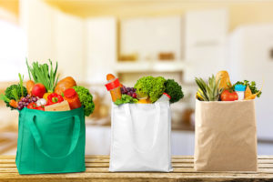 Three Grocery Bags with Produce