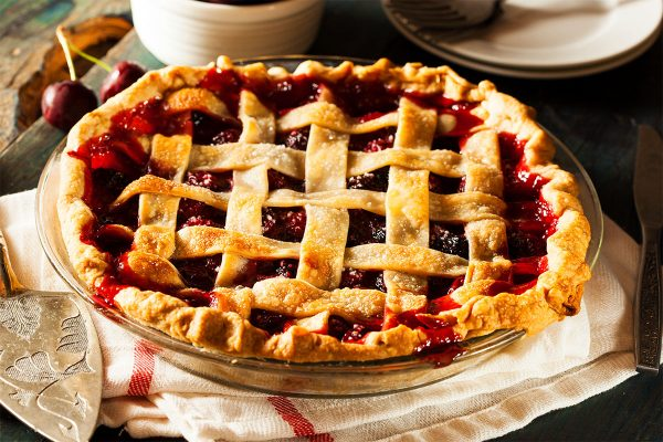 Cherry Pie in Glass Dish