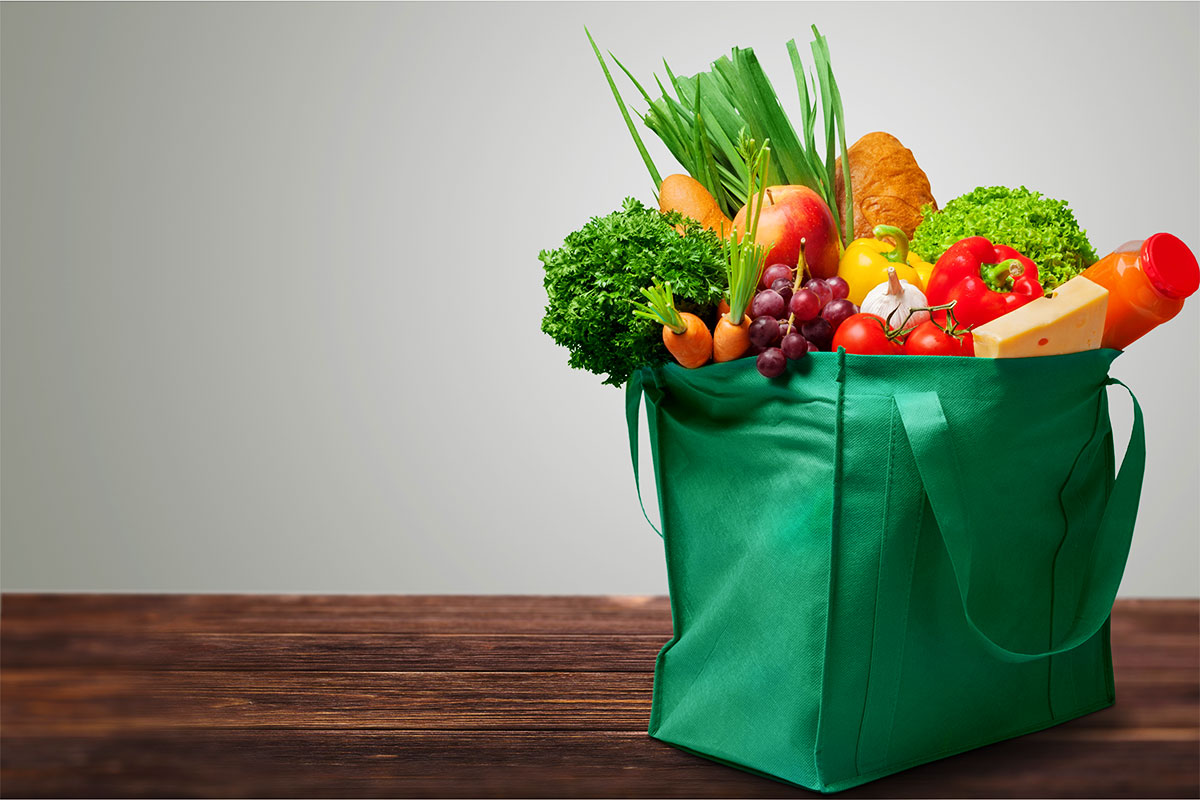 Green Grocery Bag with Produce